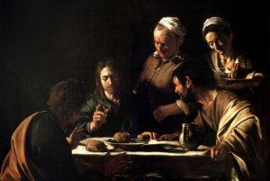 Tela: Caravaggio (1571-1610) Título da obra: A Ceia em Emaús.