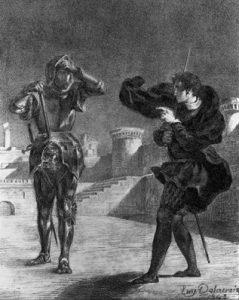Litografia: Eugène Delacroix (1798-1863). Título da obra: O fantasma no terraço, Hamlet.