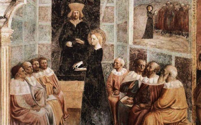 Afresco: Masolino da Panicale (1383 - 1447) Detalhe da obra: Hypatia.