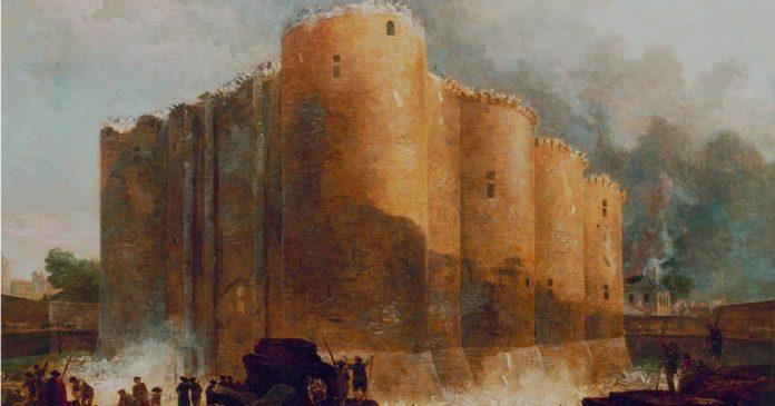Tela: Hubert Robert (1733-1808) Título da obra: A Bastilha nos primeiros dias de sua demolição.