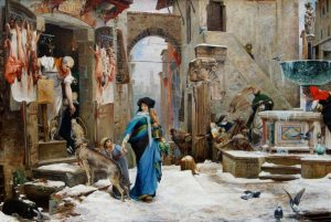 Tela: Olivier Merson (1846-1920) Título da obra: O Lobo de Gúbio.