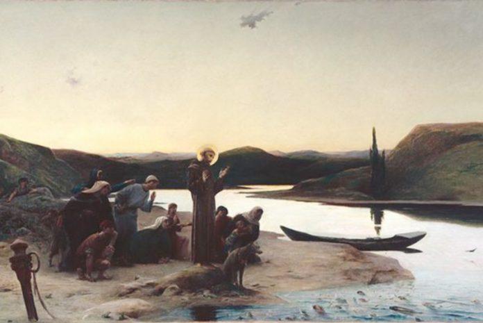 Tela: Luc-Olivier Merson (1846-1920) Le Loup d'Agubbio.